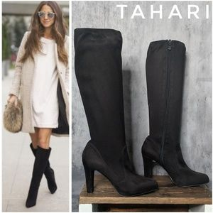 Tahari Danton faux suede knee-high stretch boots